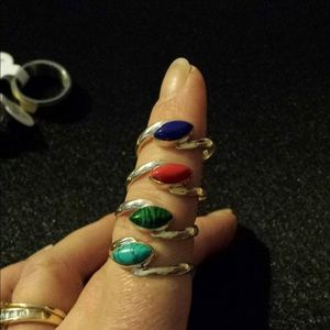 Jewelry - Unique Multi Gem Sterling Silver Stack Ring Sz 7